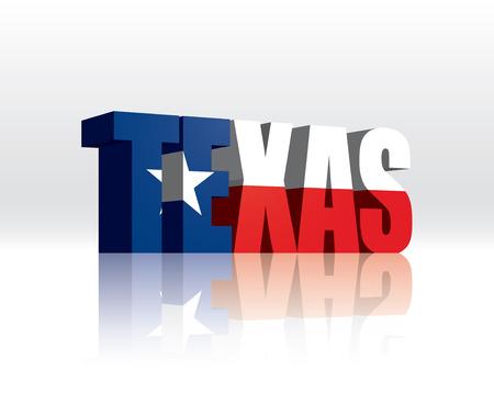 3D Vector Texas (USA) Word Text Flag