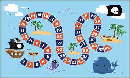 Illustration pour Vector illustration of Puzzle game Pirate ladder - image libre de droit