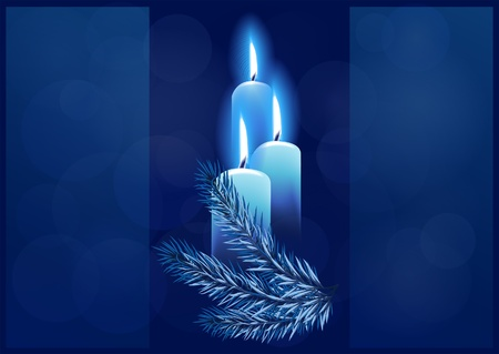 Christmas background with burning candles. Space for your text