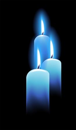 Burning candles on black