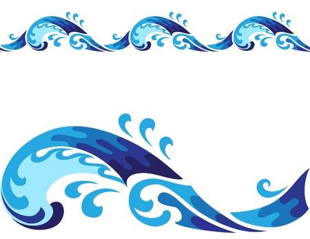 Horisontal cartoon seamless wave isolated on white