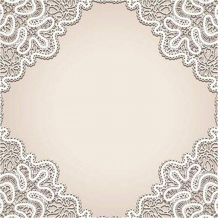 Realistic old lace, vintage frame background
