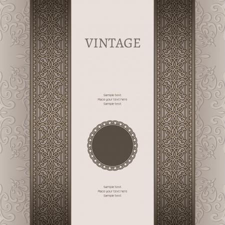 Illustration pour Vintage background with seamless border ornament - image libre de droit