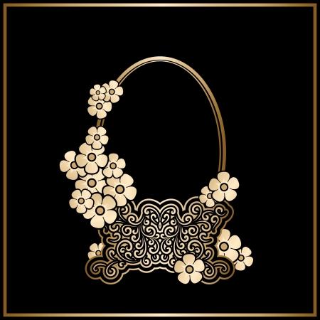 Vintage gold basket with flowers, decorative frame