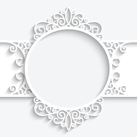 Paper frame with shadow, swirly ornamental label on white background