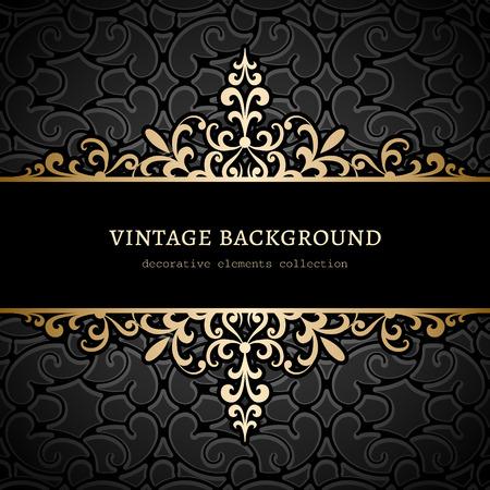 Illustration pour Vintage gold background, divider, header, ornamental frame - image libre de droit