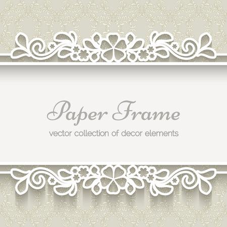Illustration for Paper lace frame over ornamental beige background - Royalty Free Image