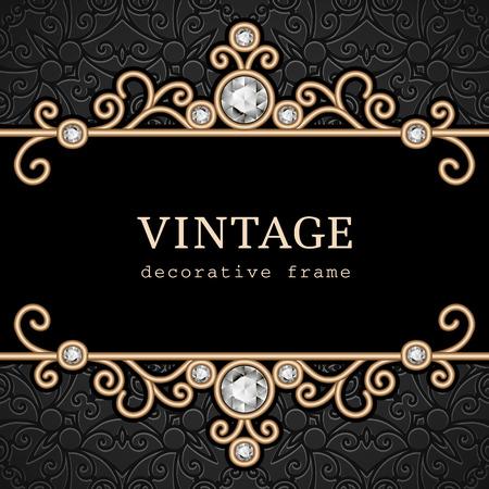 Vintage gold frame, elegant jewelry background