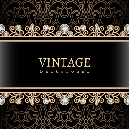 Vintage gold background  jewelry frame with seamless borders