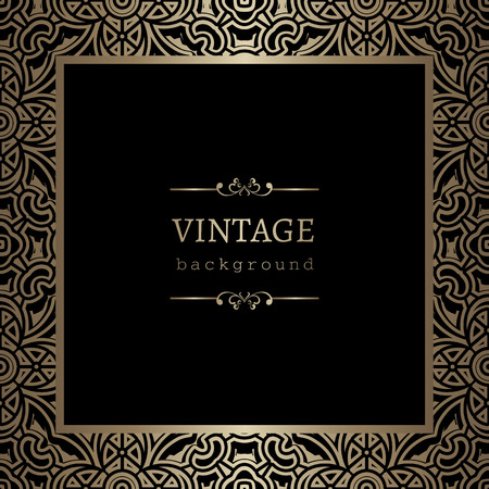 Illustration pour Vintage gold background, square ornamental frame on black - image libre de droit