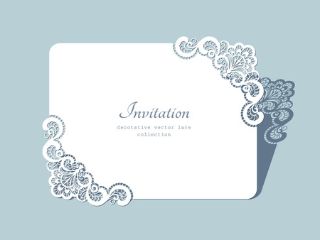 Illustration pour Rectangle paper frame with lace corners, lacy doily, greeting card or wedding invitation template - image libre de droit