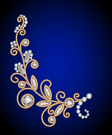Gold Jewelry Background With Diamond Sprig Jewellery Floral