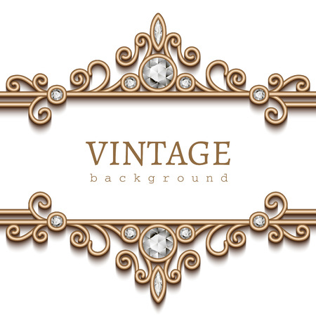 Vintage gold frame on white, divider, header, decorative jewelry background