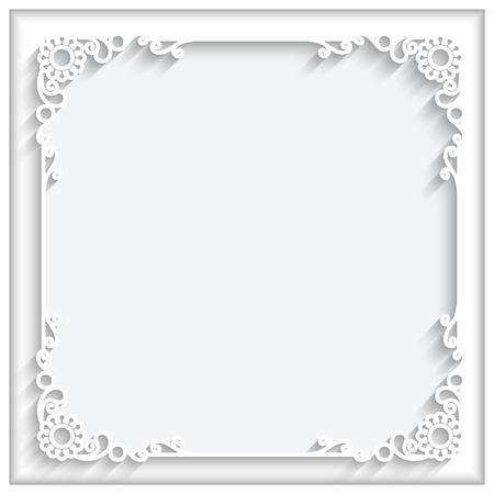 Foto de Abstract square lace frame with paper swirls, ornamental corners, white decorative background - Imagen libre de derechos