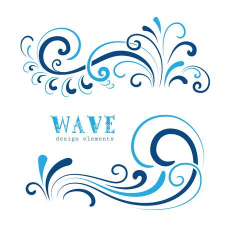 Illustration pour Wave icons, wavy shapes, decorative swirls on white - image libre de droit