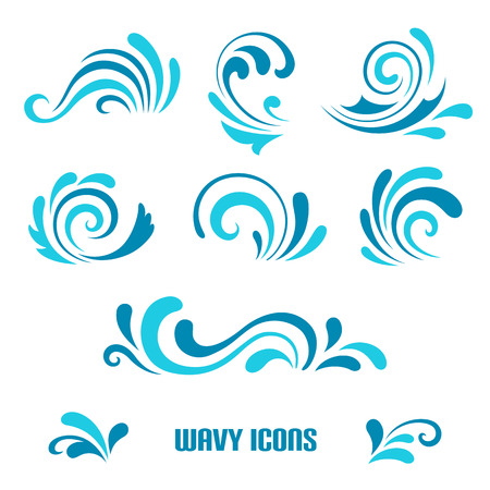 Illustration pour Wave icons, set of decorative curly shapes isolated on white - image libre de droit