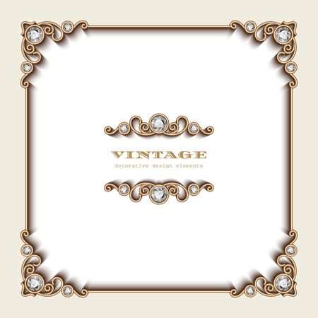 Illustration pour Vintage gold background, square jewelry frame on white - image libre de droit