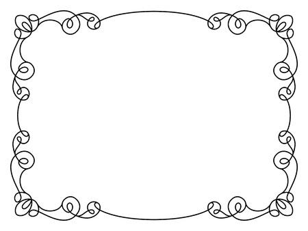 Calligraphic rectangle frame, simple frame ornament, decorative design element in retro style, certificate or invitation template on white