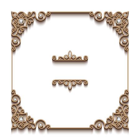 Illustration pour Vintage gold background, elegant square frame, antique jewelry vignette on white - image libre de droit