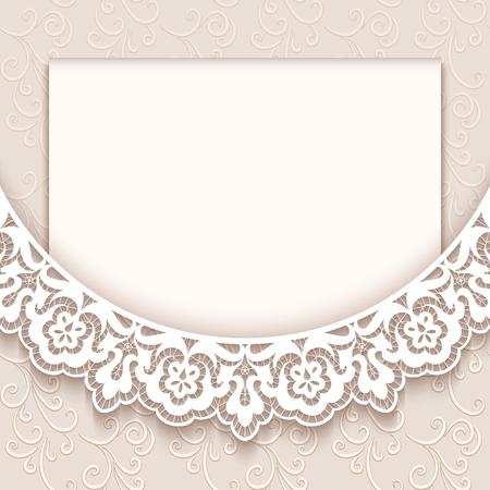Foto de Elegant greeting card with lace decoration, vintage wedding invitation or announcement template - Imagen libre de derechos
