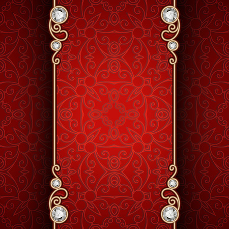Vintage gold frame with jewelry borders on ornamental red background