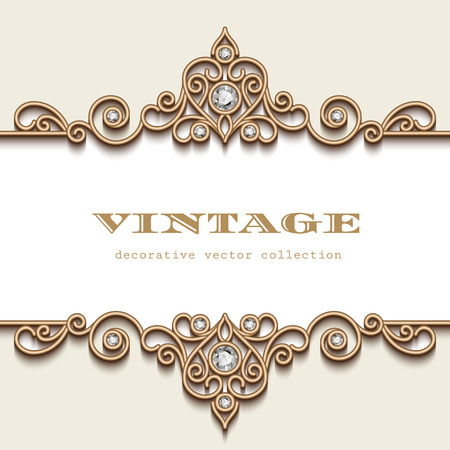 Illustration for Vintage gold jewelry frame on white, divider element, elegant header with jewellery border ornament - Royalty Free Image