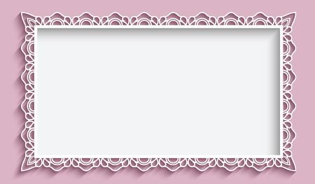 Ilustración de Rectangle frame with paper lace border ornament, vintage background, greeting card or wedding invitation template - Imagen libre de derechos
