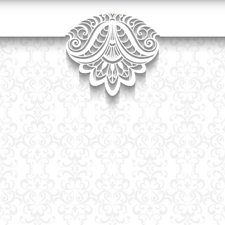 Decorative background in neutral color, elegant greeting card, wedding invitation or announcement template with lace decoration on white pattern