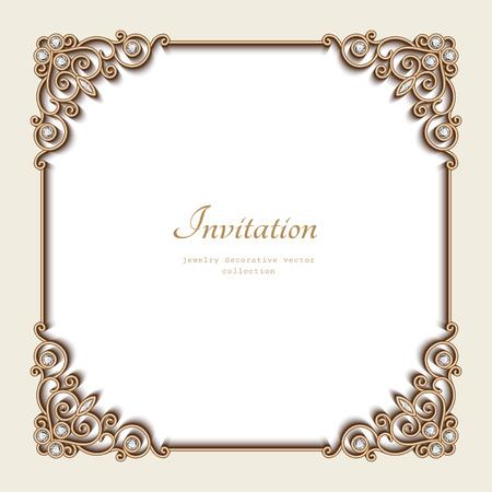 Ilustración de Vintage gold background, elegant square frame, invitation template, antique jewelry vignette - Imagen libre de derechos