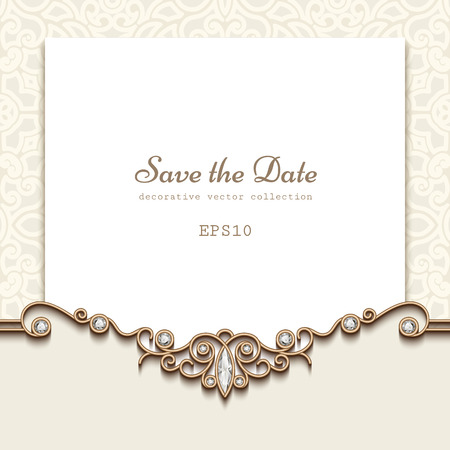Ilustración de Elegant save the date card with jewelry diamond decoration, vintage wedding invitation or announcement template - Imagen libre de derechos