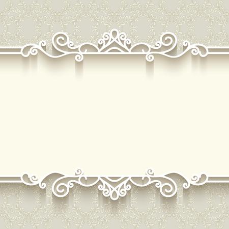 Illustration pour Vintage background with paper border decoration, divider, header, ornamental frame template - image libre de droit