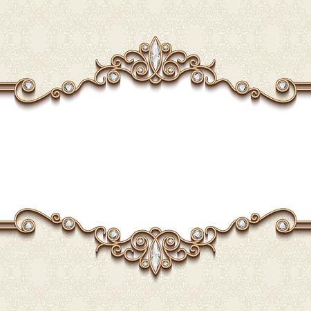 Illustration pour Vintage gold frame on white, divider element, elegant background with jewelry borders - image libre de droit