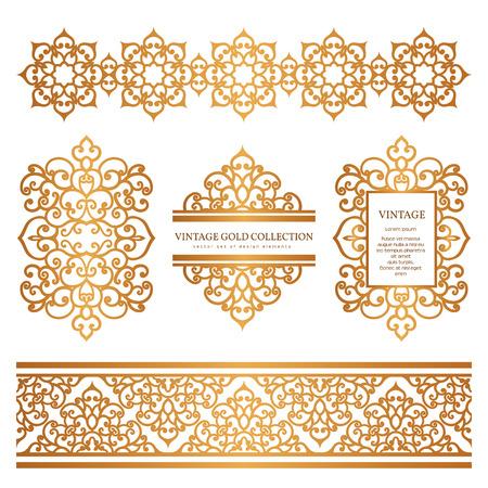 Illustration pour Vintage gold borders and frames, set of decorative design elements, golden embellishment on white - image libre de droit