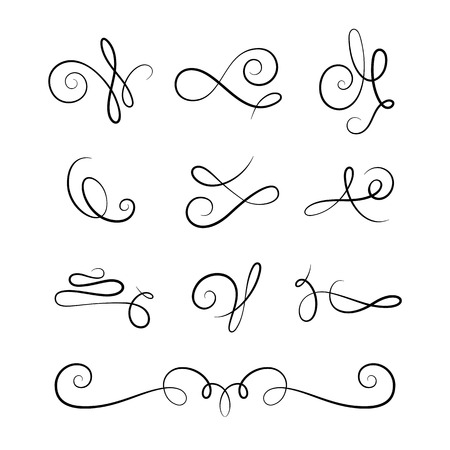 Vintage vignettes and flourishes, set of calligraphic decorative design elements in retro style, scroll embellishment on white