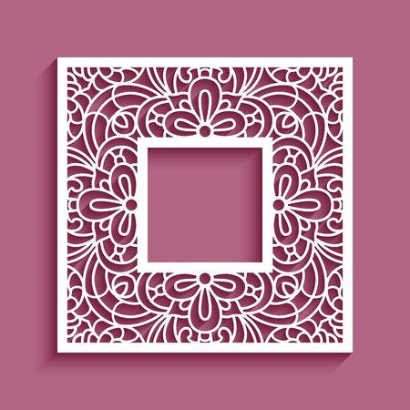 Illustration pour Square frame with lace border ornament, vector template for laser cutting, elegant cutout paper decoration - image libre de droit