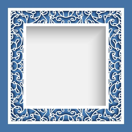 Illustration pour Square photo frame, elegant border ornament with cutout paper swirls, vector template for laser cutting, vintage lace decoration for greeting card or wedding invitation design - image libre de droit