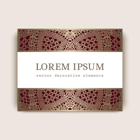 Illustration pour Elegant business or club gold card with crochet lace ornament. Exclusive VIP card design with golden pattern. - image libre de droit