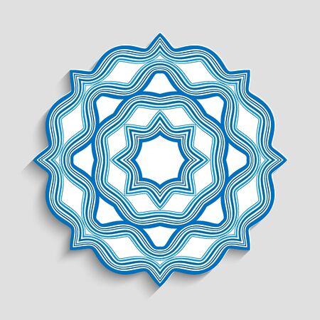 Illustration pour Round mandala ornament with wavy lines. - image libre de droit