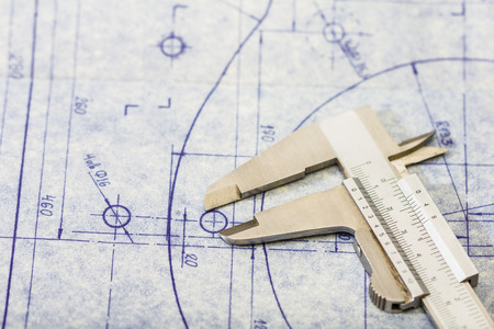 detailed mechanical engineering blueprint with gauge