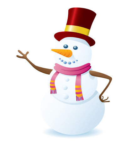 Happy Vector Snowman On White Background. Christmas Series.