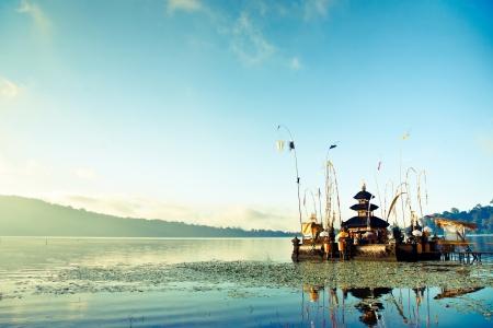 Bali Pura Ulun Danu Bratan Water Temple decorated for the ceremony