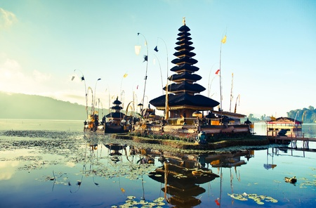 Bali Pura Ulun Danu Bratan Water Temple decorated for the ceremony