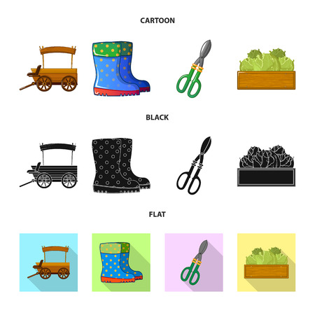 Isolated object of farm and agriculture icon. Collection of farm and plant stock vector illustration.のイラスト素材