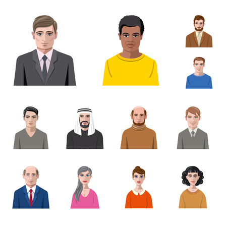 Illustration for Vector design of avatar and face sign. Set of avatar and profile stock vector illustration. - Royalty Free Image