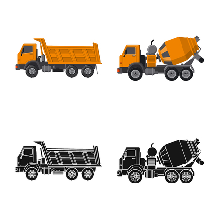 Illustration for Vector illustration of build and construction logo. Collection of build and machinery stock symbol for web. - Royalty Free Image