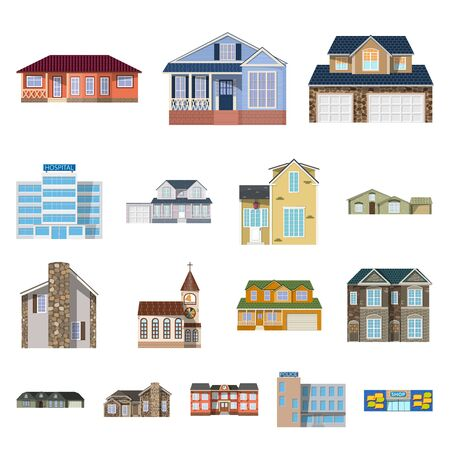 Illustration for Isolated object of building and front icon. Set of building and roof stock symbol for web. - Royalty Free Image