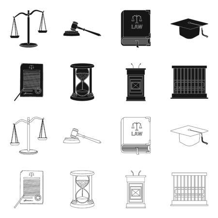 Ilustración de Vector design of law and lawyer symbol. Set of law and justice stock symbol for web. - Imagen libre de derechos