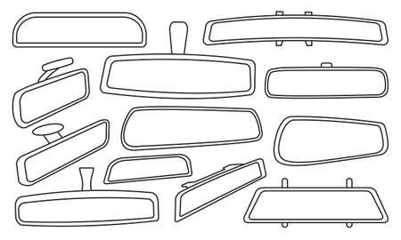 Illustration for Rear view mirrors isolated outline set icon. Vector outline set icon rearview . Vector illustration rear view mirrors on white background. - Royalty Free Image