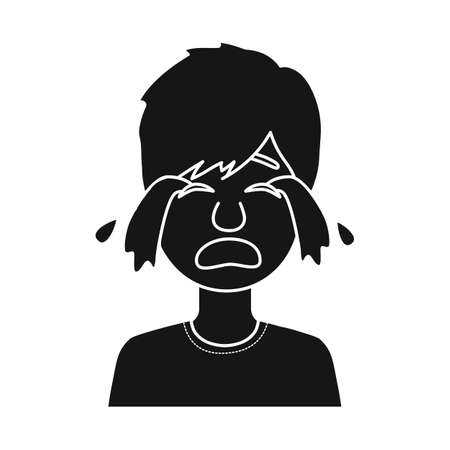 Illustration for Vector design of guy and cry sign. Set of guy and tears stock symbol for web. - Royalty Free Image
