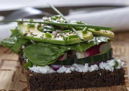 healthy cool sandwich with greens and avocado